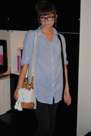 blue H&M shirt - white purse - black DKNY jeans - black volcom vest - gold littl