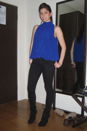 blue Forever 21 top - Urban Outfitters jeans - Circa Joan David boots