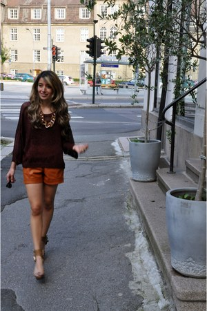 knited H&M sweater - leather shorts GINA TRICOT shorts