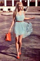carrot orange H&M bag - aquamarine pull&bear dress - carrot orange Bershka heels
