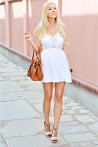 white Stradivarius dress - white Stradivarius heels