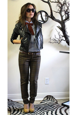 H&M jacket - thrifted vintage tie - mustard pumps f21 heels - plaid prtint aberc