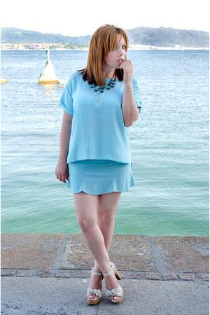 light blue Mango t-shirt - light blue PERSUNMALL skirt
