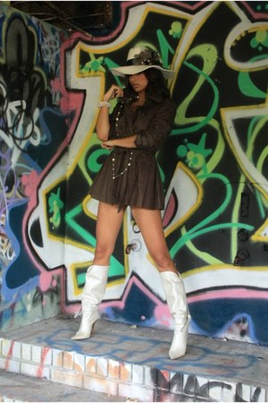 off white Bebe boots - brown MYCA Couture dress - off white MYCA Couture hat