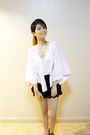 Black-zara-shorts-white-forever-21-top-light-pink-made-by-me-cardigan