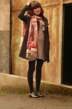 dress - coat - scarf