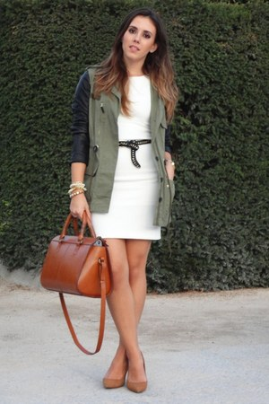 white stretch Zara dress - army green leather sleeves Zara coat