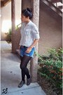 Charcoal-gray-oxford-shoes-black-tights-denim-shorts-silver-blouse
