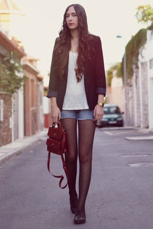ruby red Zara bag - Stradivarius shoes - black Bershka blazer - Zara shorts