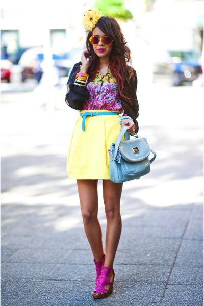 Zara skirt - pastel blue Sheinside bag - Missguided blouse - Bershka sandals