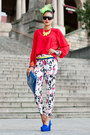 Flower-printed-romwe-pants-red-ministry-of-retail-blouse