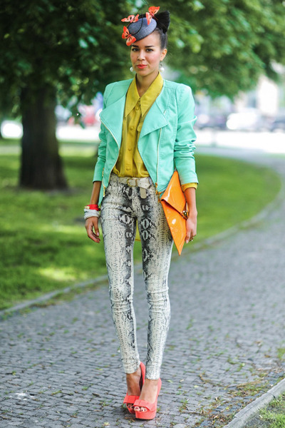 BB&B jacket - orange Fleq bag - AX Paris pants
