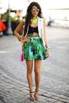 H&M necklace - neon fluo pink Zara bag - Sheinside skirt