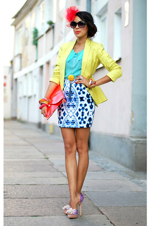 lime reserved blazer - River Island shoes - mirror print Motel Rocks skirt