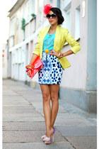 lime reserved blazer - River Island shoes - mirror print Motel Rocks skirt