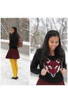 black fox Aeropostale sweater - maroon circle skirt American Apparel suit