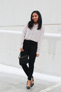 Pink-polka-dot-forever-21-skirt-black-high-waisted-maison-jules-pants