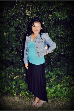 black hi low Poetry skirt - blue denim Old Navy jacket