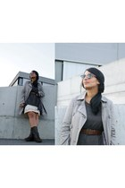 vintage boots - Vila dress - Naf Naf jacket - H&M sweater - ray-ban sunglasses
