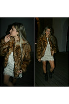 BBup boots - Mango dress - faux fur H&M jacket - vintage accessories