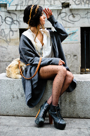 oversized Zara cardigan - Jeffrey Campbell shoes - hippy market bag