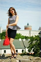 black fashionata blouse - red Mango bag - black H&M skirt
