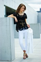 black Sheinside blouse - white preska24 blazer - white Stradivarius pants