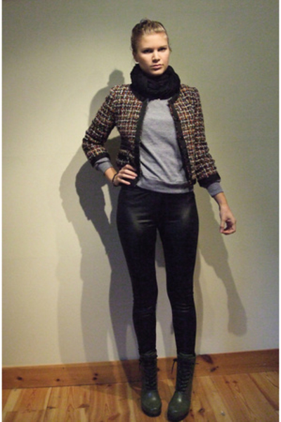 Bik Bok pants - H&amp;M jacket - H&amp;M scarf - H&amp;M shoes - Bik Bok sweater