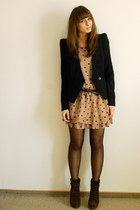 dark brown Zara boots - light brown Wholesale-Dress dress - black Vero Moda blaz