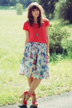 Cubus skirt - romwe top - Atmosphere sandals