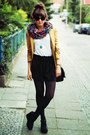 Mustard-chicwish-blazer-turquoise-blue-vero-moda-scarf-black-romwe-shorts