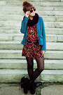 Black-promod-boots-teal-h-m-jacket-ruby-red-love-bodysuit