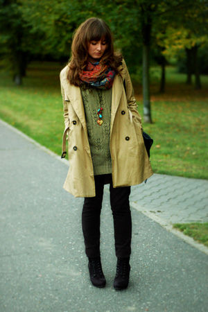 beige H&M coat - black reserved jeans