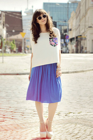 cream Hedonic blouse - blue romwe dress
