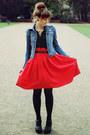 Blue-stradivarius-jacket-black-romwe-bag-red-h-m-skirt
