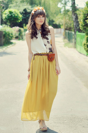 yellow romwe skirt - light orange K is for Kani accessories