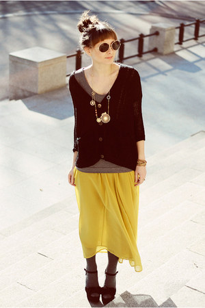 yellow romwe skirt - black OASAP cardigan