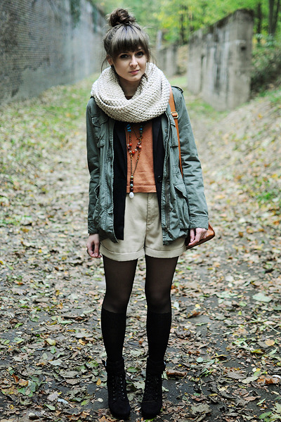 army green H&amp;M jacket - black romwe tights - bronze romwe bag