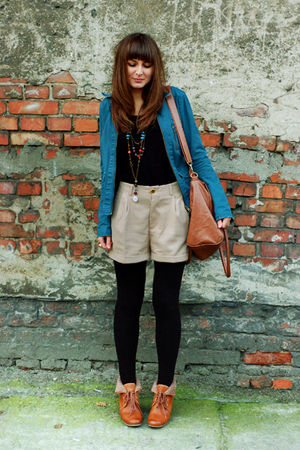 blue H&M jacket - brown H&M boots - beige H&M shorts