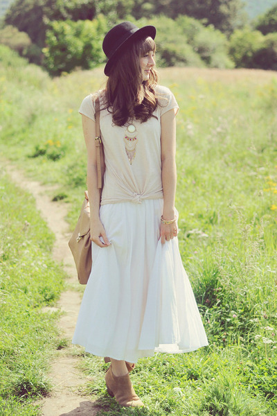 off white vintage dress - cream H&M top