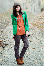 tawny Papilionpl wedges - green romwe blazer - black Chicwish bag