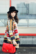 red Chicwish cardigan - black boots