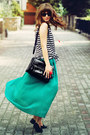 Black-romwe-bag-white-h-m-top-teal-romwe-skirt