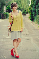 lime green reserved sweater - heather gray romwe skirt - red Papillion wedges