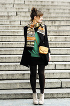 eggshell deezee boots - black romwe coat - forest green romwe sweater