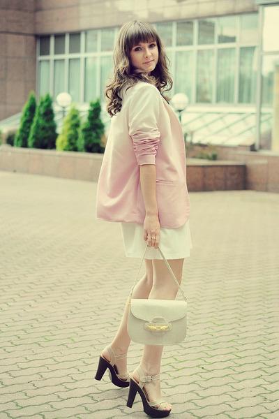 light pink romwe blazer - cream Deashop sandals
