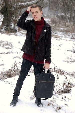 brick red H&M sweater - charcoal gray reno boots - black gift jeans