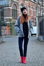 Navy-h-m-jeans-black-beanie-h-m-hat-silver-thrifted-vintage-jacket