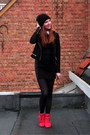 Black-h-m-dress-black-beanie-h-m-hat-black-leather-new-look-jacket