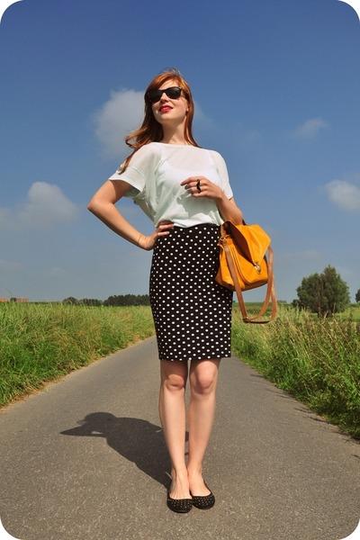 black polka dot H&M skirt - mustard H&M bag
